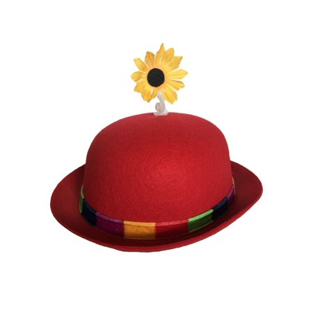Clown Bowler Derby Hat with Daisy (Red)