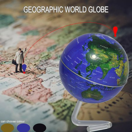 """4"""" Self-Rotating Geography World Globe World Map Ornaments Home Office Decor blue - image 3 of 8"""