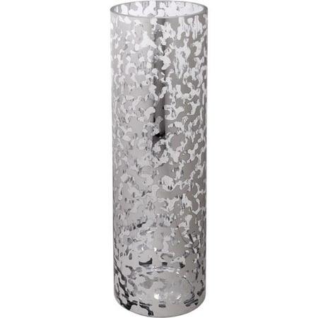 Home Essentials & Beyond 1514 16 in. Modern Mercury Cylinder Hurricane, Leopard - Mercury Vase