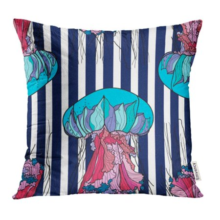 USART Medusa with Jellyfish and Blue Stripes Ocean Abstract Aquarium Beautiful Black Color Pillow Case Pillow Cover 16x16 inch Throw Pillow - Medusa Blue Gift