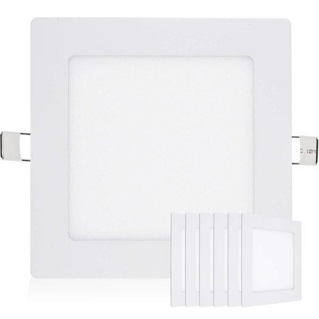 - LEEKI - Pack of 5-9W Recessed Square Ceiling Light - Cool White 5000K - Ultra Slim Design - 6 Non-Dimmable Miniature LED Driver Adapter
