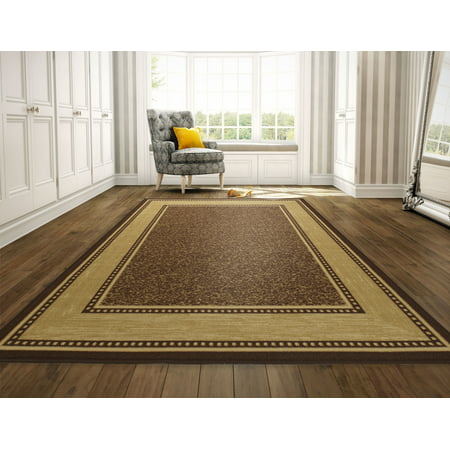 Modern Kitchen Collection (Ottomanson Ottohome Collection Contemporary Bordered Design Non Slip Rubber Backing Modern Area or Runner Rug, Brown )