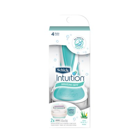 Schick Intuition Sensitive Care With Natural Aloe Women's Razor - 1 Razor Handle Plus 2 Refill Razor