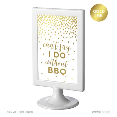 Metallic Gold Confetti Polka Dots 4x6-inch Party Signs, Can