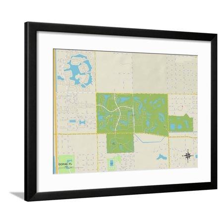 Political Map of Doral, FL Framed Print Wall Art