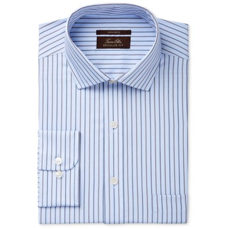 Stripe Non Iron Shirt - Tasso Elba Mens 17 Non-Iron Texture Stripe Dress Shirt