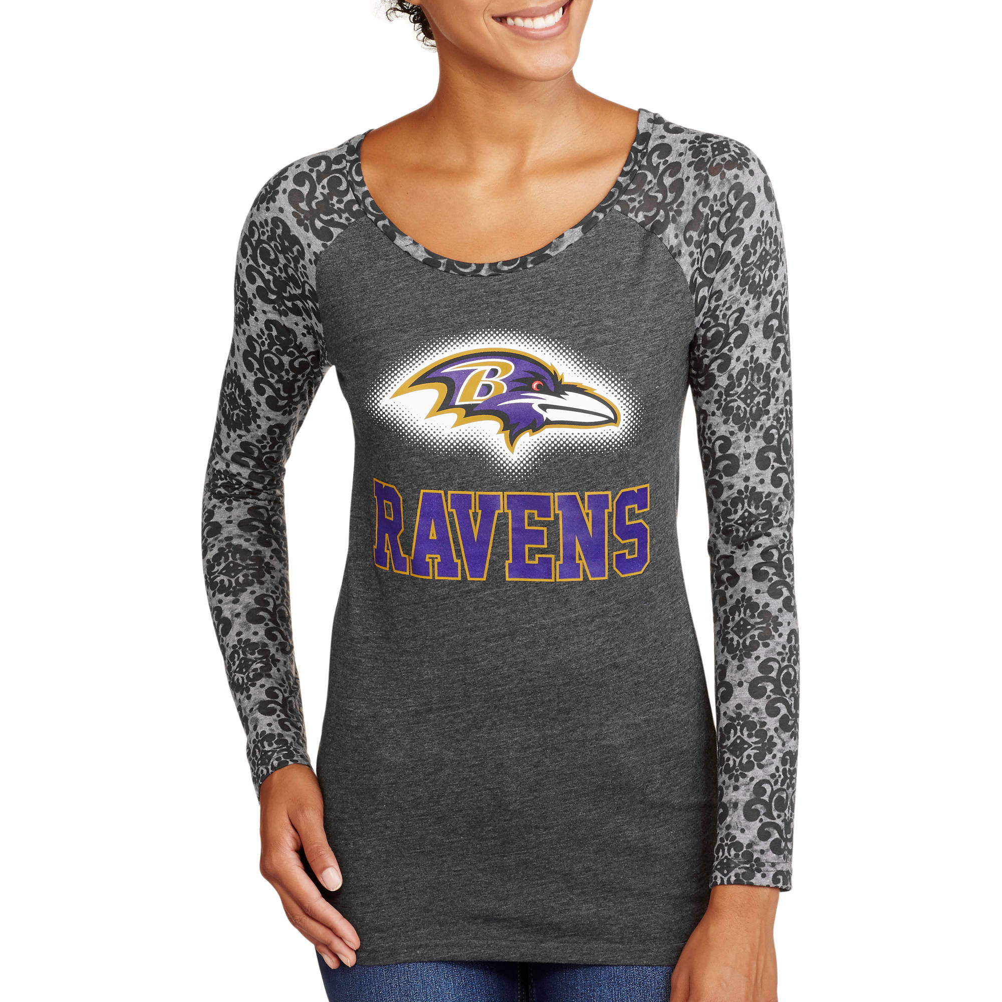 NFL Juniors Ravens Long Sleeve Burnout Tee
