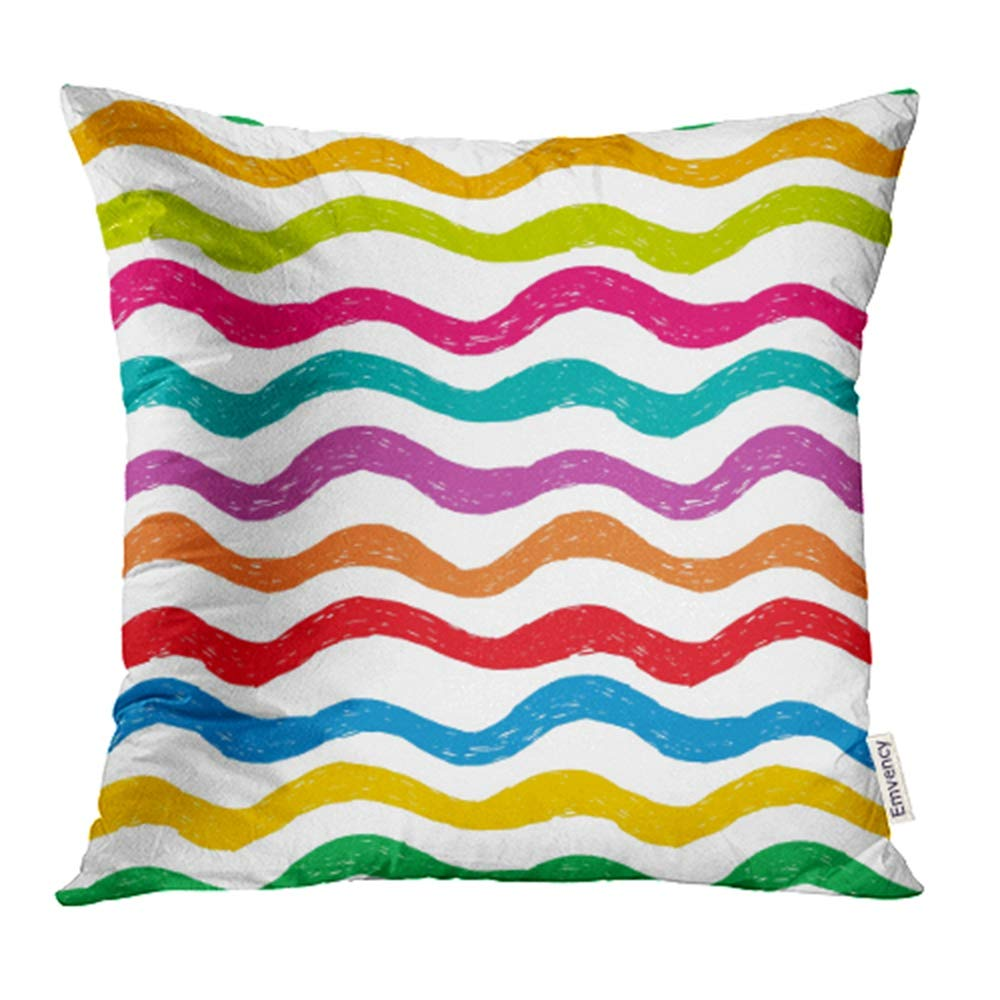 YWOTA Kid Hand Drawn Pattern with Bright Color Waves Rainbow Fun Funky Child Drawing Pillow Cases Cushion Cover 18x18 inch