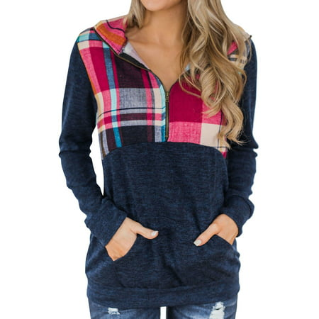 711ONLINESTORE Women's Long Sleeve 1/3 Zip Up Plaid Sweatshirt