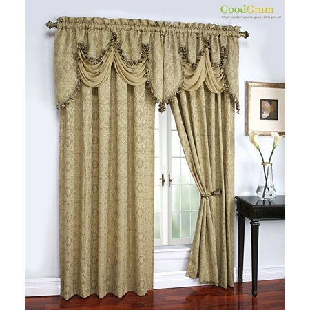 Portofino Raised Jacquard Complete Window Curtain & Onion Fringed Valance Treatments - Gold - Jacquard Window Treatments
