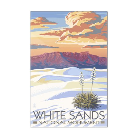 White Sands National Monument  New Mexico   Sunset Scene   Lantern Press Artwork  8X12 Acrylic Wall Art Gallery Quality
