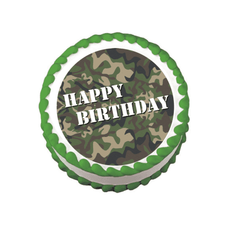 Militar Army Camoflage Edible Frosting Sheet Photo Image Cake Topper
