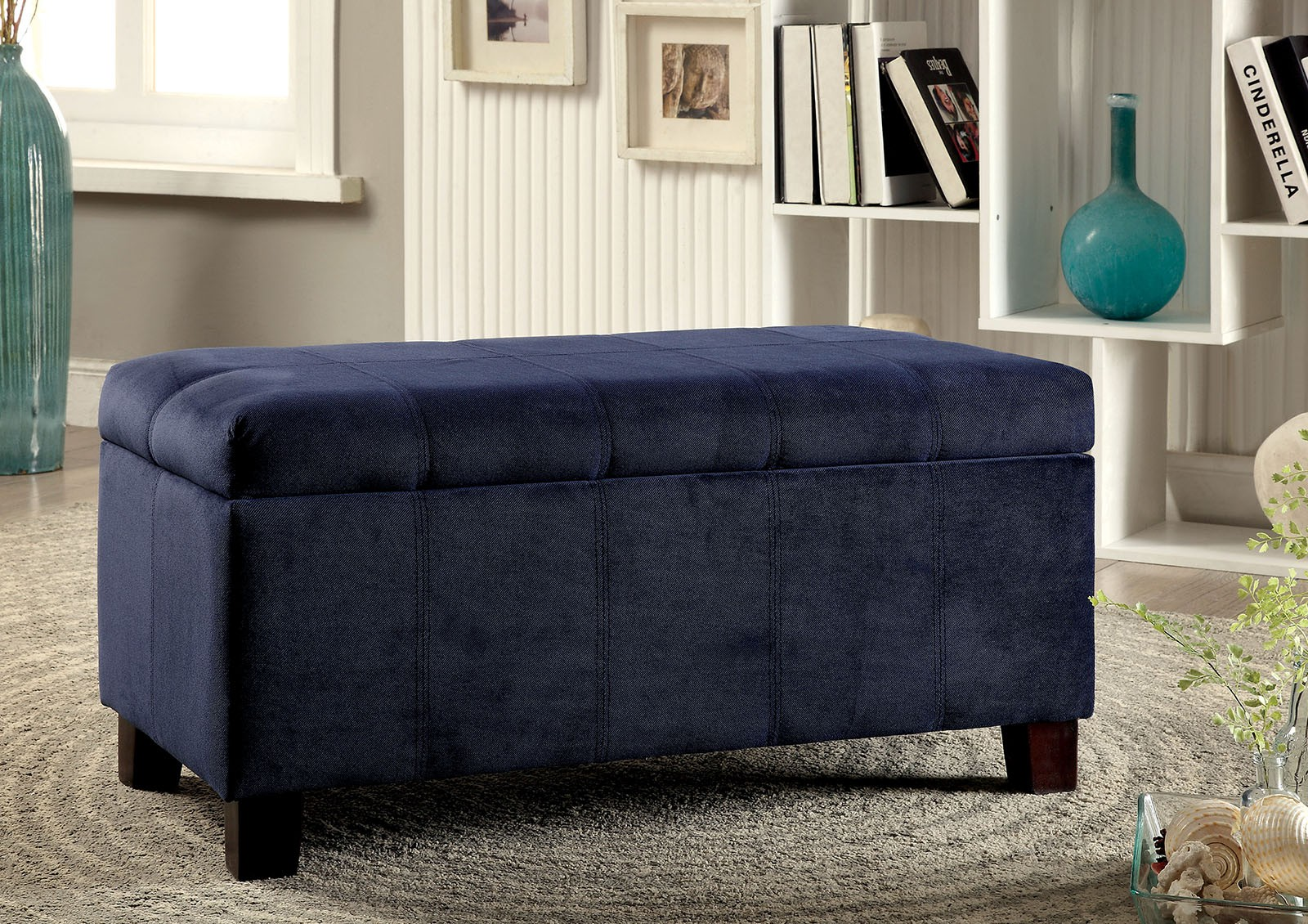 1PerfectChoice Remi Contemporary Padded Flannelette Flip-Top Storage Ottoman Bench Footstool Navy by 1PerfectChoice