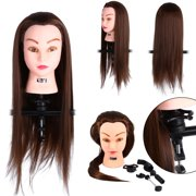 """VGEBY Cosmetology Mannequin Head with Human Hair, 24"""" Long Hair Training Practice Head for Hairstyling, Manikin Doll Head Hairdressing Training Model w/ Hair & Free Clamp for Head Styling Dye Cutting"""