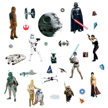 CLASSIC STAR WARS WALL DECALS Movie 31 Stickers Boys Room Decor](Star Wars Decals)