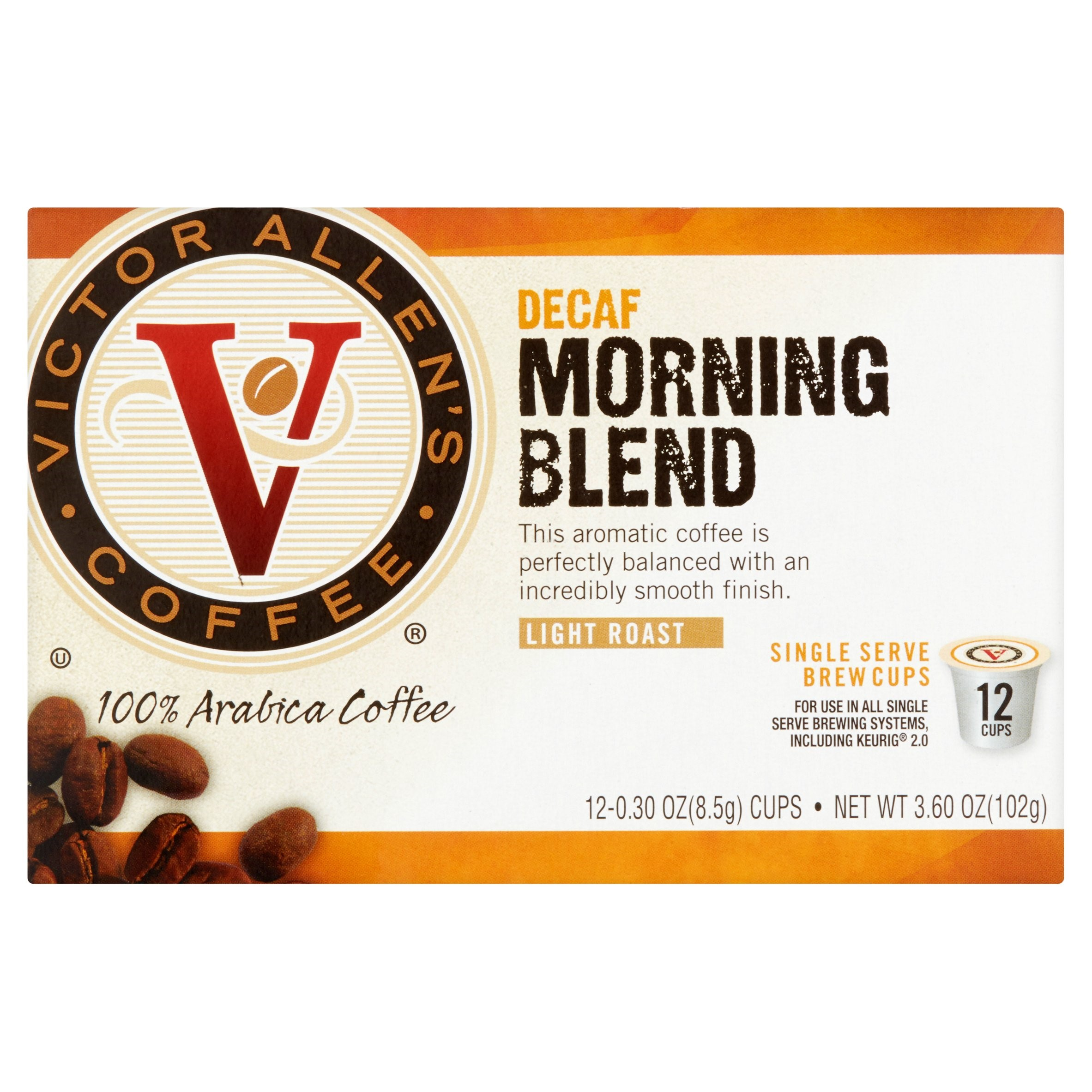 Victor Allen's Coffee Decaf Morning Blend Single Serve Brew Cups, 0.30 oz, 12 count