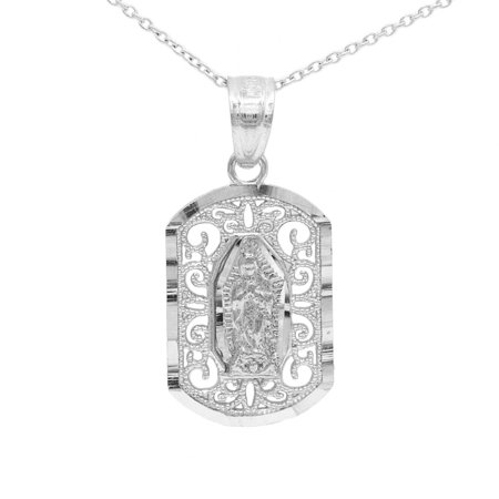 "925 Sterling Silver Oval Our Lady of Guadalupe Pendant Necklace with 18"" Mariner Chain"