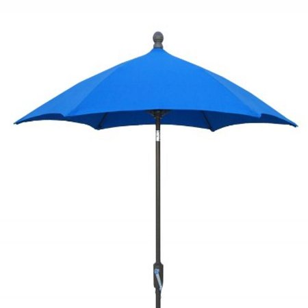 7.5' Hex Home Terrace Umbrella 6 Rib Crank Champagne Bronze with Pacific Blue solution dyed acrylic - Solution Dyed Acrylic