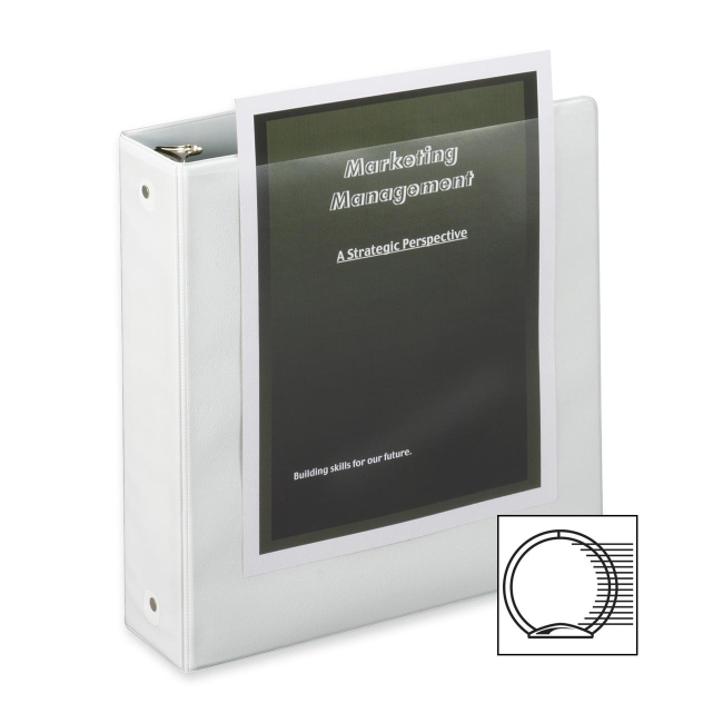 "ClearVue Round Ring Binder, 2"" Capacity, 11""x8-1/2"", White CRD01500"