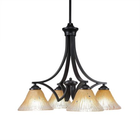 - Zilo Matte Black Four-Light 19-Inch Chandelier with Amber Crystal Glass