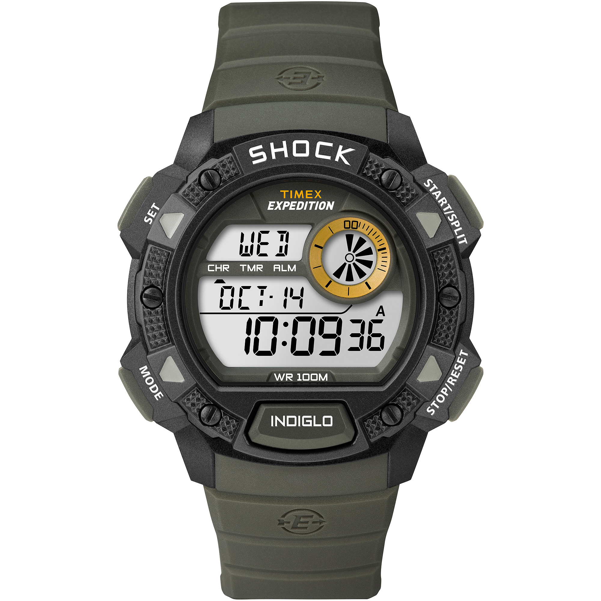 Timex Men's Expedition Base Shock Watch, Green Resin Strap by Timex