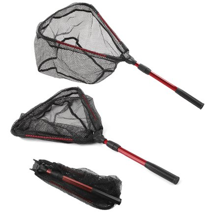 Foldable Fish Landing Net Collapsible Telescopic Aluminum Pole Handle Safe Fish Catching Releasing Fishing - Aluminum Handle Fishnet