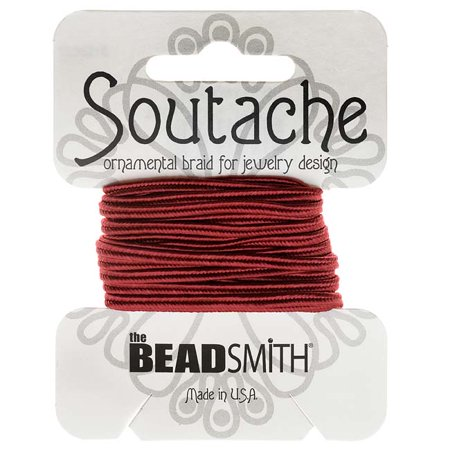 Soutache Cord - BeadSmith Soutache Braided Cord 3mm Wide - Rose Pink (3 Yard Card)