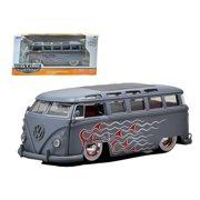 1962 Volkswagen Bus Grey With Flames & Baby Moon Wheels 1/24 Diecast Car Model by Jada