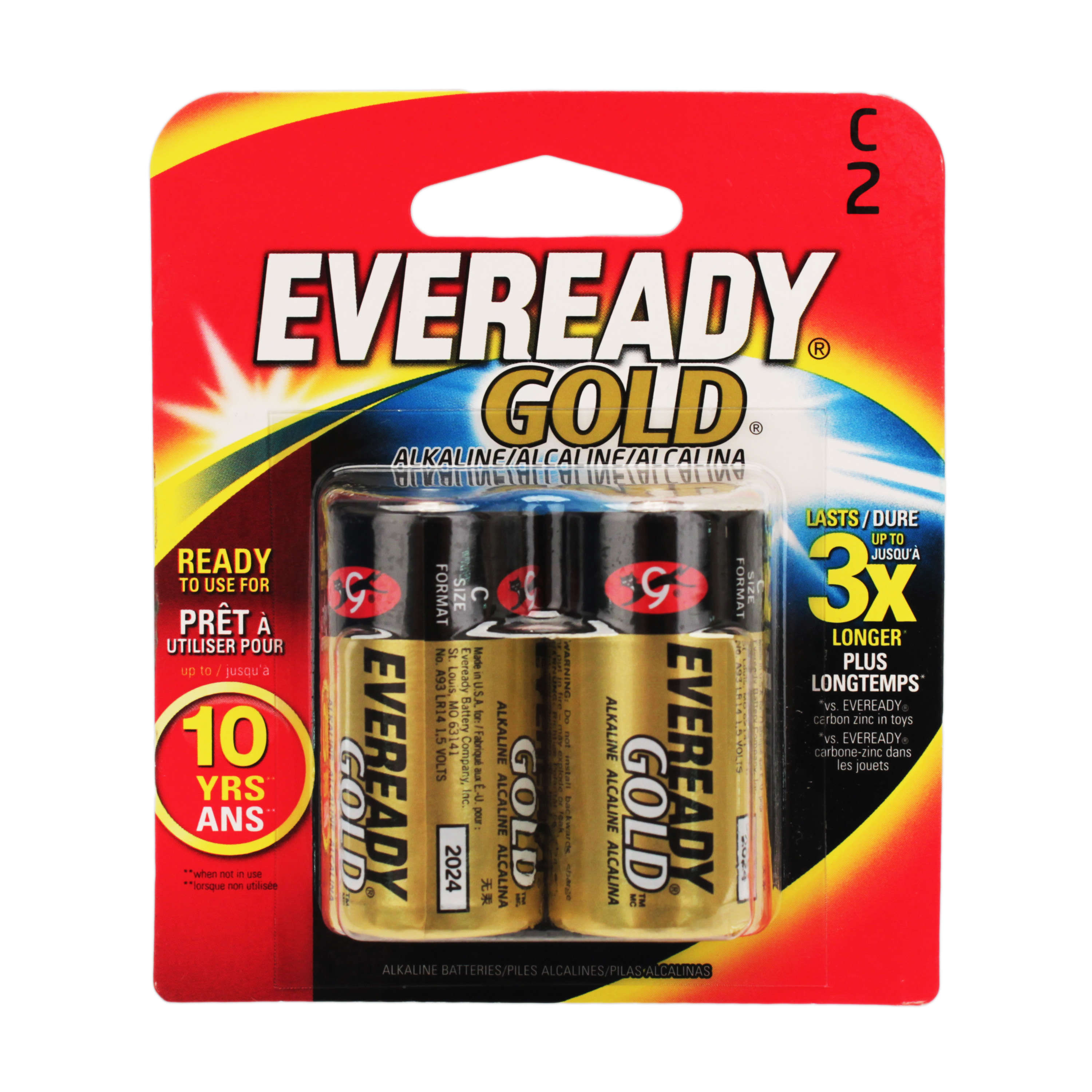 EVEREADY GOLD C Batteries, 2 pk