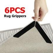 Rug Grippers, Rug Pad, 6Pcs Renewable Carpet Tape Pad Corner Stickers for Hardwood Floors - Non Slip & Anti Curling, Keep Rug in Place & Makes Corners Flat, 130x25mm