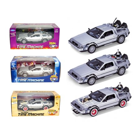 - Collect All 3pc Set Delorean Time Machine Trilogy 1/24 Set Back To The Future 1,2,3 Trilogy Pack by Welly