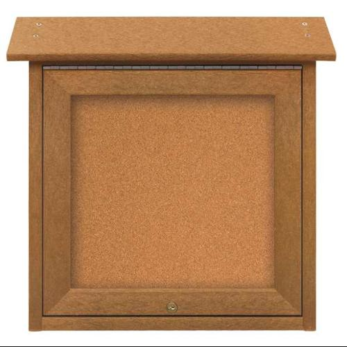 "UNITED VISUAL PRODUCTS Enclosed Bulletin Board,Tack,18""x18"" UVSM1818-CEDAR"