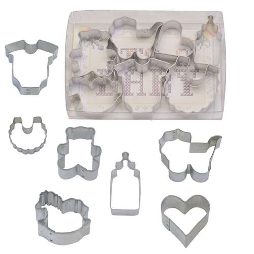 R&M Small Baby 7 Piece Cookie Cutter Set - Baby Bodysuit, Bib, Rocking Horse, Teddy Bear, Bottle, Carriage, Heart