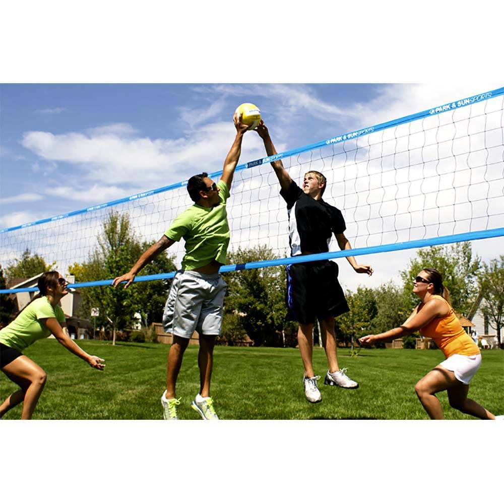Park /& Sun Sports Regulation Size Indoor//Outdoor Recreational Volleyball Net with Rope Cable Top Blue