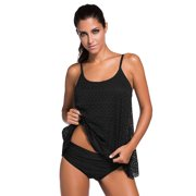 HDE Women's Tankini 2 Piece Bathing Suit Set Lace Layered Solid Colored Swimsuit