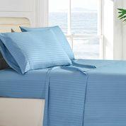 Stripes Bed Sheet Set (Queen, Blue) 4 Pieces Deep Pocket 1800 - Sale: $14.99 USD