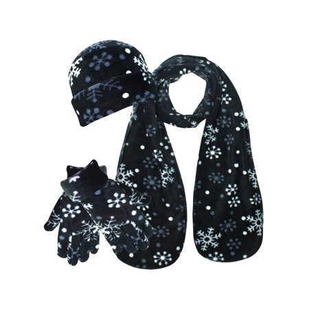 Black & White Snowflake Print Fleece 3-Piece Hat Scarf & Gloves Set