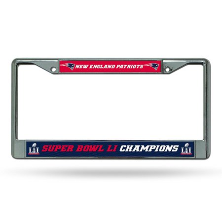 New England Patriots Super Bowl LI Champions Chrome License Plate Frame, Officially Licensed By Rico