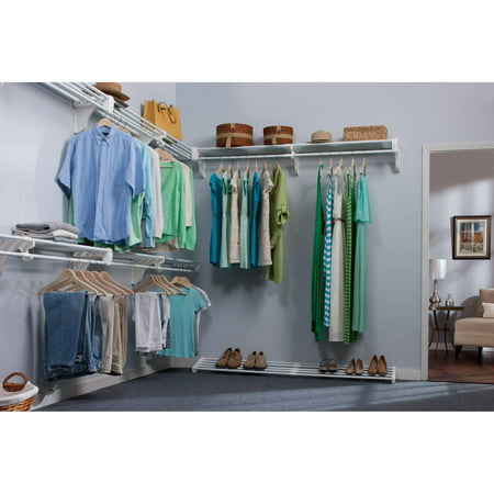 EZ Shelf Walk-In Closet Organizer, 5 Closet Shelves and Rods and 4 End Brackets, White by
