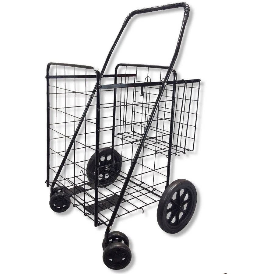 Swivel Wheeled Jumbo Folding Shopping, Grocery and Laundry Cart with Extra Basket and 360 Rotating Front Wheels, Black