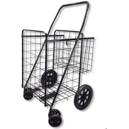 Swivel Wheeled Jumbo Folding Shopping  Grocery And Laundry Cart With Extra Basket And 360 Rotating Front Wheels  Black