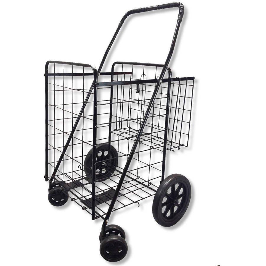 swivel wheeled jumbo folding shopping grocery and laundry cart with extra basket and 360 rotating