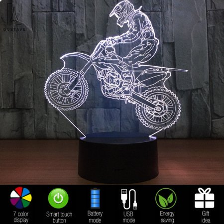 GustaDesign 3D USB Night Stand Light Touch Control 7 Colors Changing Optical Illusion Visualization LED Night Light Lamp Stand