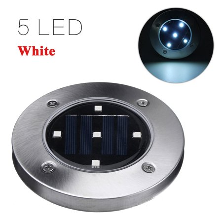 1PC LED Ground Lights Waterproof Lawn Lamp 5LEDs Solar Light Pathway In-Ground Lights Outdoor Water-resistant Landscape Spike Lighting Underground Spotlight for Pathway White - image 6 de 7