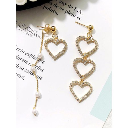 MAXSUN Girl Asymmetrical Heart Rhinestone Pearl Chain Drop Earrings