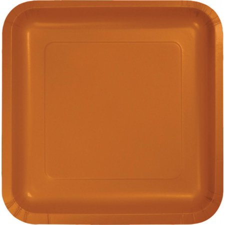 Creative Converting Pumpkin Spice Orange Square Dessert Plates, 18 ct - Halloween Pumpkin Dessert Ideas