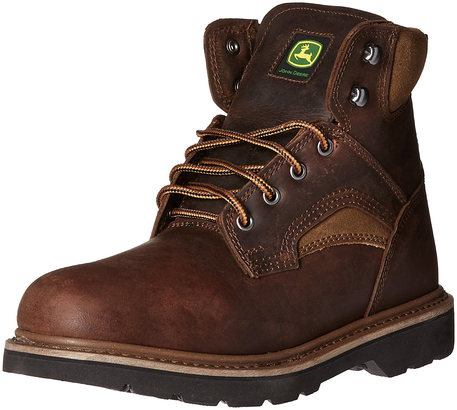 John Deere Men's 6'' All Around Round Toe Lace Up Work Boots Brown Leather 7 W by John Deere