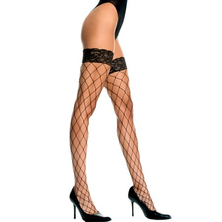 Music Legs Women's Plus Size Fence Net Thigh Highs with Lace Top Black Queen (Black Fish Net Thigh High Tights)