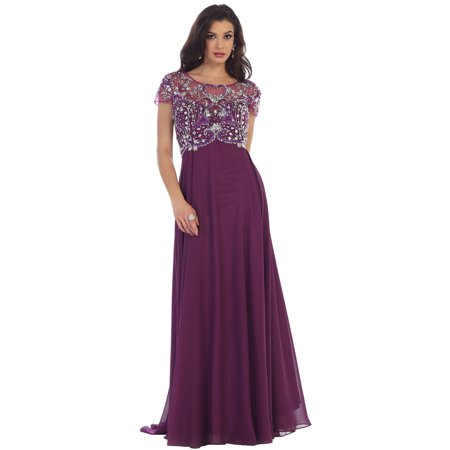 CLASSY SHORT SLEEVE MOTHER OF THE BRIDE DRESS