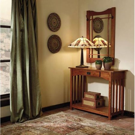 Powell Console And Mirror  Mission Oak